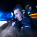 police radio smiling